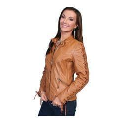 Women's Scully Leather Lamb Skin Jacket L411 Saddle Tan