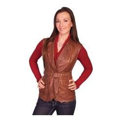 Women's Scully Leather Lamb Vest L640 Brown