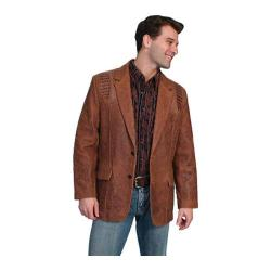 Men's Scully Leather Lambskin Blazer w/ Caiman Inlays 953 Long Brown