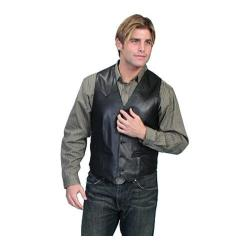 Men's Scully Leather Lambskin Button Front Vest 503 Black Lamb