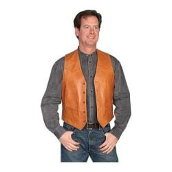 Men's Scully Leather Lambskin Button Front Vest 503 Ranch Tan