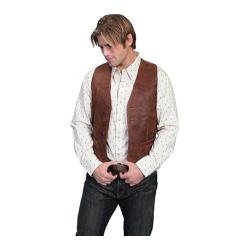 Men's Scully Leather Lambskin Button Front Vest 503-60 Long Brown