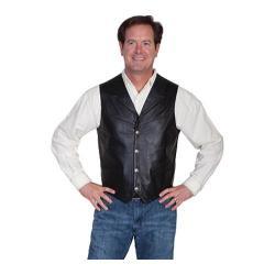 Men's Scully Leather Lambskin Lapel Vest 509 Black/Soft Touch Lamb