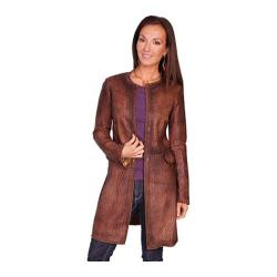Women's Scully Leather Laser Cut Leather Coat L236 Brown