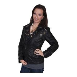 Women's Scully Leather Sanded Lamb Motorcycle Jacket L220 Charcoal