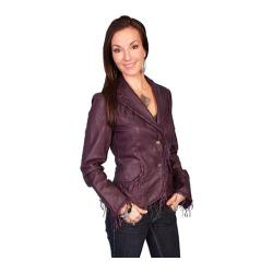 Women's Scully Leather Soft Lambskin Jacket L989 Eggplant