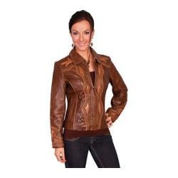 Women's Scully Leather Two-Tone Leather Studded Jacket L622 Brown Antique Lamb