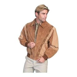 Men's Scully Leather Two-Toned Boar Suede Rodeo Jacket 62 Cafe Brown/Camel