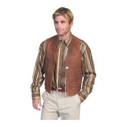 Men's Scully Leather Vintage Lamb Concho Vest w/ Lapel 965 Brown