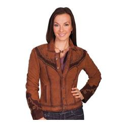 Women's Scully Leather Western Suede Studded Yoke Jacket L170 Brown