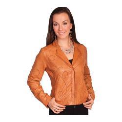 Women's Scully Leather Whip Stitch Design Lamb Jacket L1 Cognac Soft Lamb