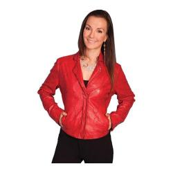 Women's Scully Leather Whip Stitch Design Lamb Jacket L1 Red Lamb