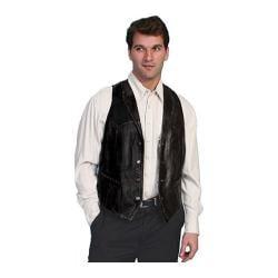 Men's Scully Leather Whip Stitch Leather Lapel Vest 206 Black Lamb