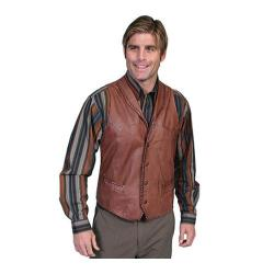 Men's Scully Leather Whip Stitch Leather Lapel Vest 206 Ranch Tan