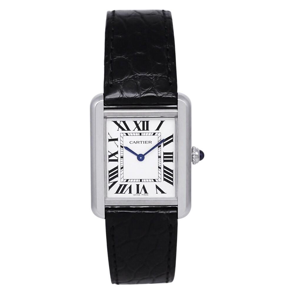 Cartier Women's W5200005 Tank Solo Rectangle Black Strap Watch