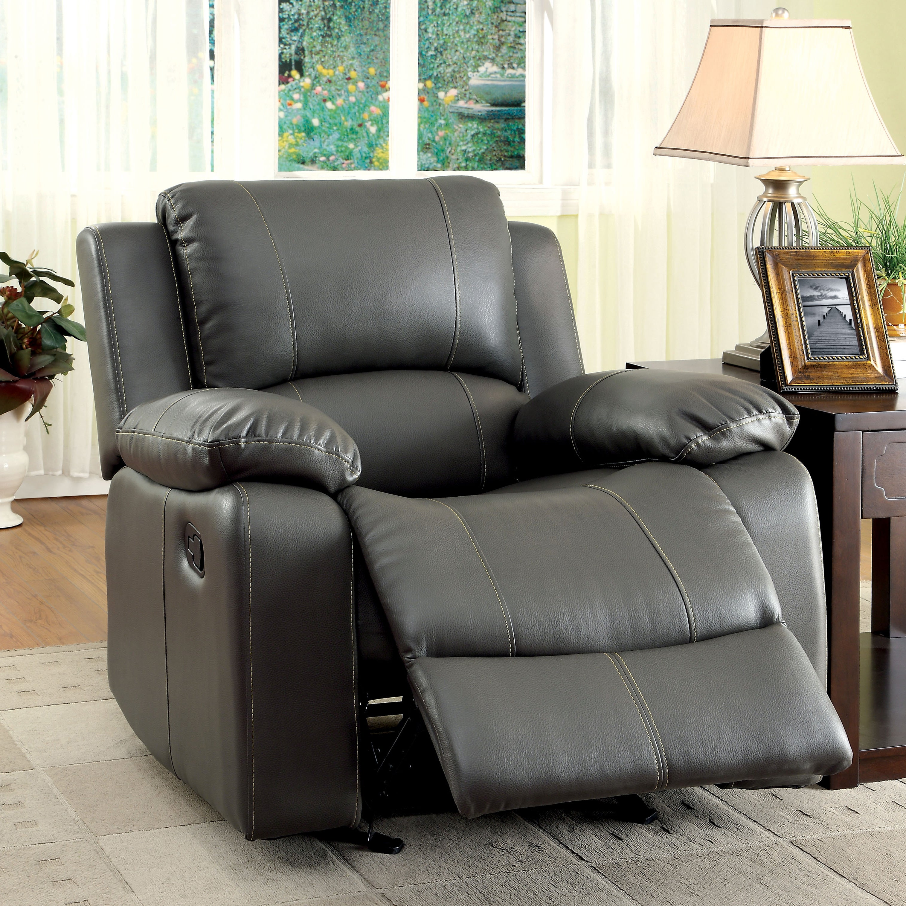 Furniture of America Rembren Grey Bonded Leather Recliner