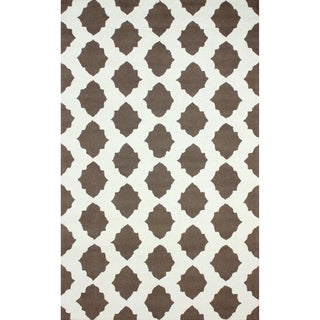 nuLOOM Hand-hooked Lattice Trellis Grey Rug (7'6 x 9'6)