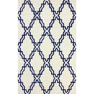 nuLOOM Handmade Marrakesh Lattice Trellis Ivory Wool Rug (5' x 8')
