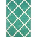 nuLOOM Handmade New Zealand Wool/ Viscose Green Trellis Lattice Rug (5' x 8')