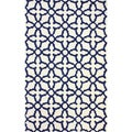 nuLOOM Hanmade New Zealand Wool Marrakesh Moroccan Trellis Navy (5' x 8')