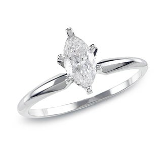 Auriya 14K Gold 1ct TDW Marquise 6-Prong Diamond Ring (H-I, SI1-SI2)