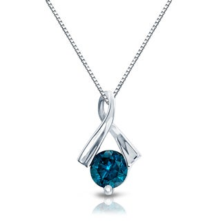 Auriya 14k White Gold 1/2ct TDW Blue Diamond Ribbon Necklace (I1, I2)