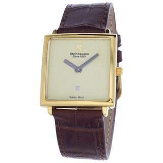 Steinhausen Women's Artiste Swiss Watch with Cream Brass Dial, Black Hands and Chocolate Leather Strap