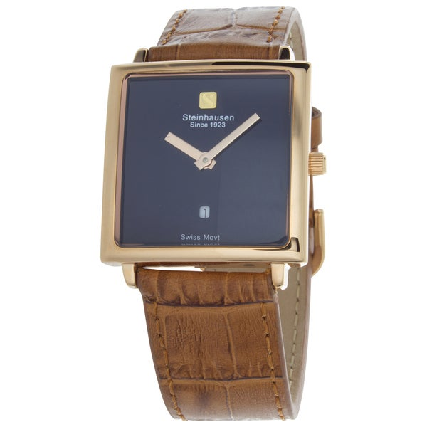 Steinhausen Women's Artiste Swiss Watch with Blue Brass Dial, Rose Gold Hands and Brown Strap