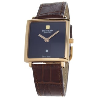 Steinhausen Women's Artiste Swiss Watch with Blue Brass Dial, Rose Gold Hands and Chocolate Leather Strap