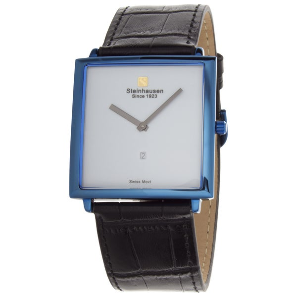 Steinhausen Men's Artiste Swiss Watch with White Brass Dial, Black Hands and Strap