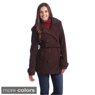Hadari Women's Double-breasted Belted Peacoat