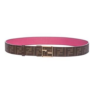 Fendi Tobacco/ Magenta Zucca Reversible Leather Belt