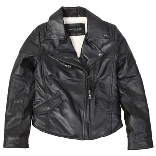 United Face Girls Black Lambskin Leather Biker Jacket
