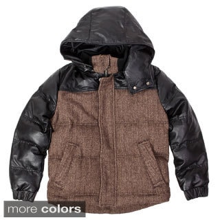 United Face Boys Lambskin Leather Hooded Herringbone Parka