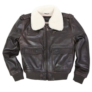 United Face Boys Brown Military Flight Leather Bomber