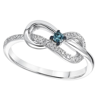 Cambridge Sterling Silver 1/6ct TDW Blue and White Diamond Infinity Ring