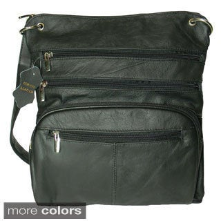 Hollywood Tag Leather iPad Messenger Bag with Zip-Top Closure