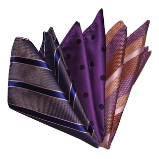 Dmitry Men's Blue/Purple/Orange Italian Silk Pocket Squares (Pack of 3)