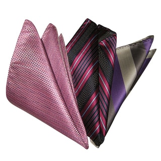 Dmitry Men's Blue/Gray/Pink Italian Silk Pocket Squares (Pack of 3)