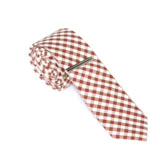 Skinny Tie Madness Mens Red Plaid Skinny 58-Inch Tie