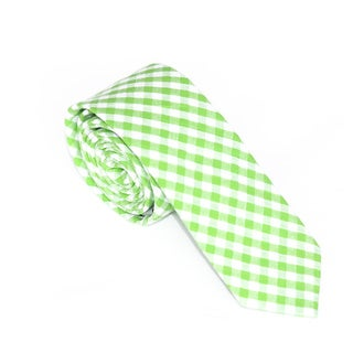 Skinny Tie Madness 100-Percent Cotton Men's Plaid Skinny Tie