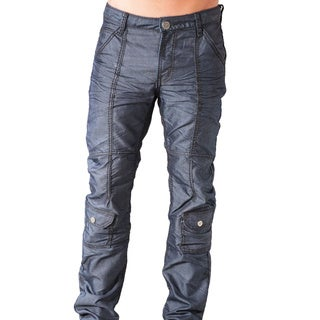 V.I.P. Collection Men's Slim Fit Dark Blue Coated Denim Jeans