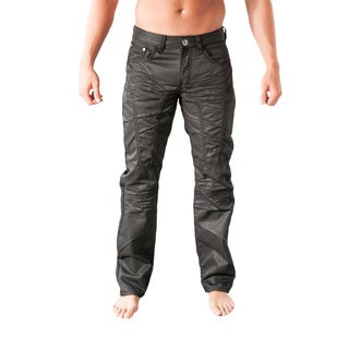 V.I.P. Collection Men's Slim Fit Black Coated Denim Jeans