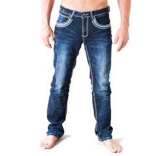 V.I.P. Collection Men's Slim Fit Blue Coated Denim Jeans