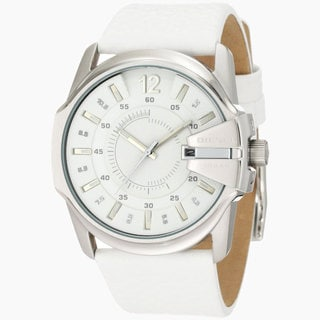 Diesel Men's 'DZ1405' White Leather Analog Watch