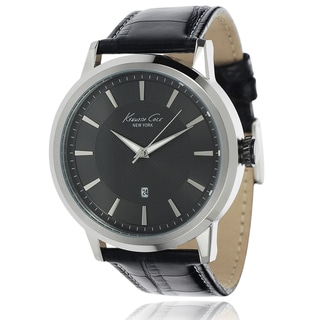 Kenneth Cole Men's Stainless Steel Black Leather Band Watch