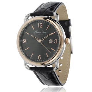 Kenneth Cole Men's Stainless Steel Leather Band Watch with Gray Dial