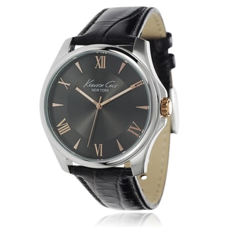 Kenneth Cole Men's Stainless Steel Leather Band Watch with Charcoal Dial