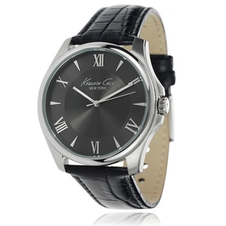 Kenneth Cole Men's Stainless Steel Leather Strap Watch