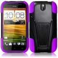 BasAcc Black/ Purple Case with Stand for HTC One SV